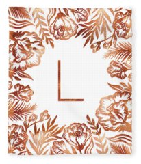 Letter L - Rose Gold Glitter Flowers Fleece Blanket