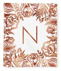 Letter N - Rose Gold Glitter Flowers Fleece Blanket