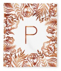 Letter P - Rose Gold Glitter Flowers Fleece Blanket