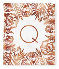 Letter Q - Rose Gold Glitter Flowers Fleece Blanket
