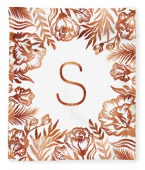 Letter S - Rose Gold Glitter Flowers Fleece Blanket