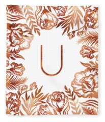 Letter U - Rose Gold Glitter Flowers Fleece Blanket