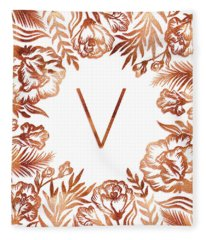 Letter V - Rose Gold Glitter Flowers Fleece Blanket