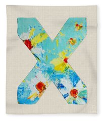Letter X Roman Alphabet - A Floral Expression, Typography Art Fleece Blanket