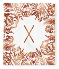 Letter X - Rose Gold Glitter Flowers Fleece Blanket