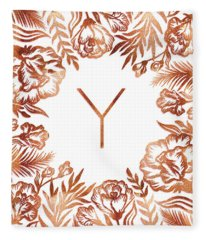 Letter Y - Rose Gold Glitter Flowers Fleece Blanket
