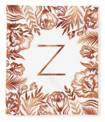 Letter Z - Faux Rose Gold Glitter Flowers Fleece Blanket