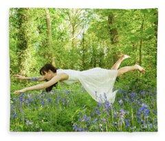 Levitation In The Bluebells Fleece Blanket
