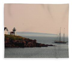 Lewis R French At The Curtis Island Lighthouse Fleece Blanket