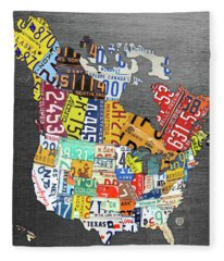 License Plate Map Of North America Canada And The United States On Gray Metal Fleece Blanket