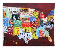 License Plate Map Of The United States Custom Edition 2017 Fleece Blanket