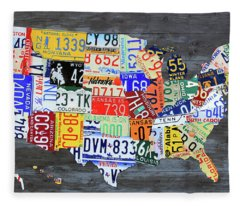 License Plate Map Of The United States Gray Edition 16 With Special Kodiak Bear Alaska Plate Fleece Blanket