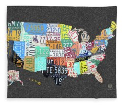 License Plate Map Of The United States On Gray Felt Large Format Sizing Fleece Blanket