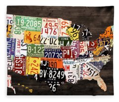 License Plate Map Of The United States - Warm Colors / Black Edition Fleece Blanket