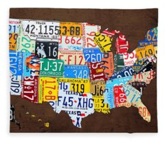 License Plate Map Of The Usa On Brown Wood Fleece Blanket
