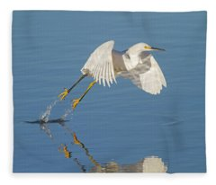Lift Off- Snowy Egret Fleece Blanket