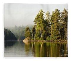 Light Fog On Slim Lake Fleece Blanket