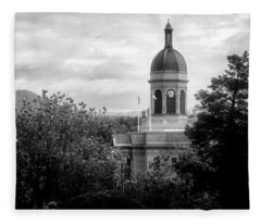 Light On The Courthouse In Black And White Fleece Blanket