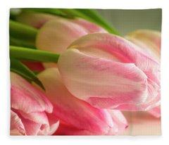 Light Pink Tulips In Sunlight Fleece Blanket
