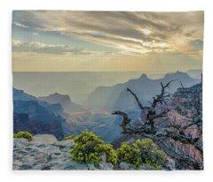 Light Seeks The Depths Of Grand Canyon Fleece Blanket