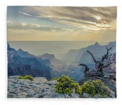 Light Seeks The Depths Of Grand Canyon Fleece Blanket
