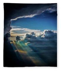 Light Shafts From Thunderstorm 2008 Fleece Blanket