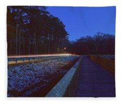 Light Trails On Elbow Road Fleece Blanket
