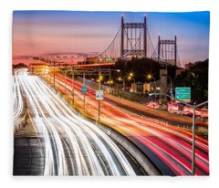 Light Trails On I-278 Near Triboro Bridge Fleece Blanket