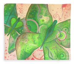 Lighthearted In Green On Red Fleece Blanket