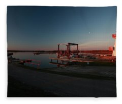 Lighthouse And Marina At Hecla In Manitoba Fleece Blanket