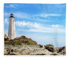 Lighthouse And Rocks Fleece Blanket