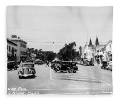 Lighthouse Avenue Downtown Pacific Grove, Calif. 1935  Fleece Blanket
