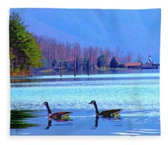 Lighthouse Geese, Smith Mountain Lake Fleece Blanket