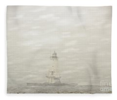 Lighthouse In Snowstorm Fleece Blanket