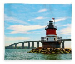 Lighthouse On A Small Island Fleece Blanket