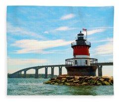 Lighthouse On A Small Island Fleece Blanket