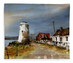 Lighthouse On Inis Boffin, Galway Fleece Blanket