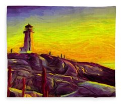 Lighthouse Sunset Fleece Blanket