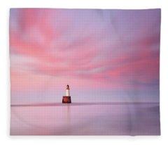 Lighthouse Sunset Fleece Blanket