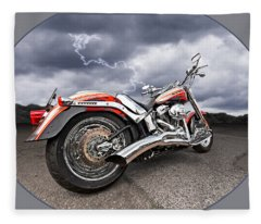 Lightning Fast - Screamin' Eagle Harley Fleece Blanket