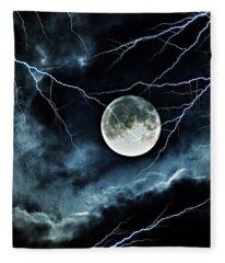 Lightning Sky At Full Moon Fleece Blanket