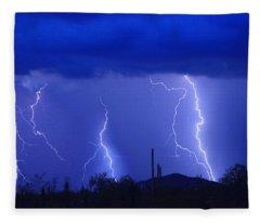 Lightning Storm In The Desert Fine Art Photography Print Fleece Blanket