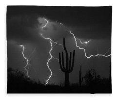 Lightning Storm Saguaro Fine Art Bw Photography Fleece Blanket