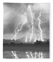 Lightning Striking Longs Peak Foothills 4cbw Fleece Blanket