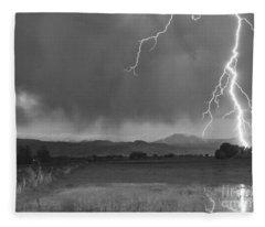 Lightning Striking Longs Peak Foothills 5bw Fleece Blanket