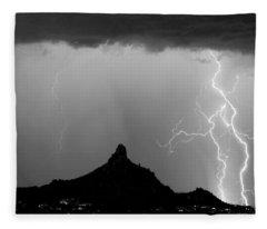 Lightning Thunderstorm At Pinnacle Peak Bw Fleece Blanket