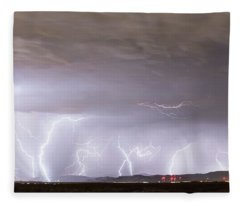 Lightning Thunderstorm Extreme Weather Over Golden Colorado Fleece Blanket
