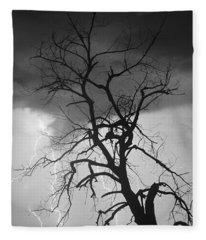 Lightning Tree Silhouette Portrait Bw Fleece Blanket
