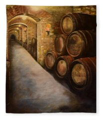 Lights In The Wine Cellar - Chateau Meichtry Vineyard Fleece Blanket