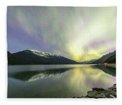 Lights Reflecting On Moose Lake Fleece Blanket